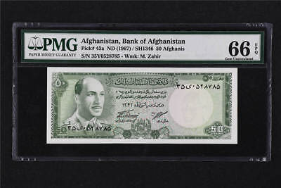 1967 Afghanistan Bank Of Afghanistan 50 Afghanis Pick#43a PMG 66 EPQ Gem UNC