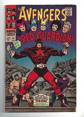 Avengers #43  Fine- 5.5!  Cool Cover & 1St Red Guardian!  1967