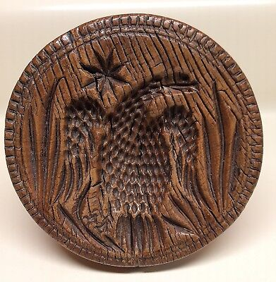 Antique EAGLE & STAR Hand Carved WOOD BUTTER STAMP~Mold~Print~PENNSYLVANIA~1800s