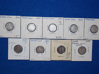 Lot of 9 Seated Liberty Dime 10C Silver 1840 1845 1848 1852 1856 1887S 1887 1889