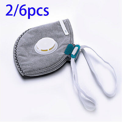 4 Layers Anti-Dust Breathable Mouth Face Mask Health Sport Respirator 2 or 6 Pcs