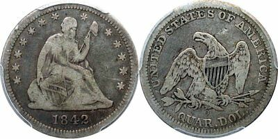 1842-O Large Date Liberty Seated Quarter, Early New Orleans Date, PCGS F12