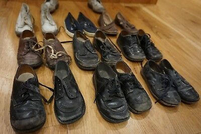 10 Pairs of Vintage Childrens Shoes Leather, Canvas and Polio Corrective Shoes