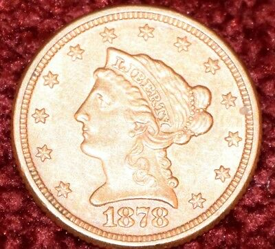 1878 Liberty Head 2.5 Dollar Gold Coin