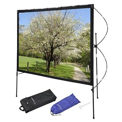 "77"" 16:9 Outdoor Indoor Projector Screen with Stand Foldable Portable Movie Home"
