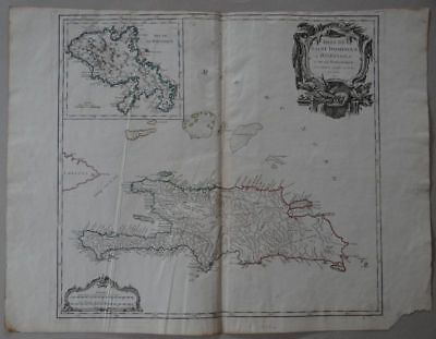 Martinique Cuba Haiti Dominican Republic - copper map R. de Vaugondy 1750