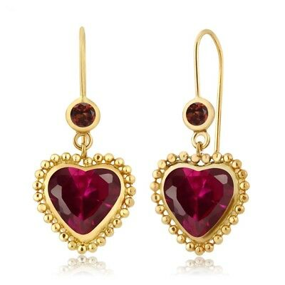 4.62 Ct Heart Shape Red Created Ruby Red Garnet 14K Yellow Gold Earrings