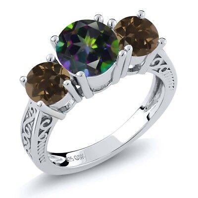 2.22 Ct Green Mystic Topaz Brown Smoky Quartz 925 Sterling Silver 3-Stone Ring