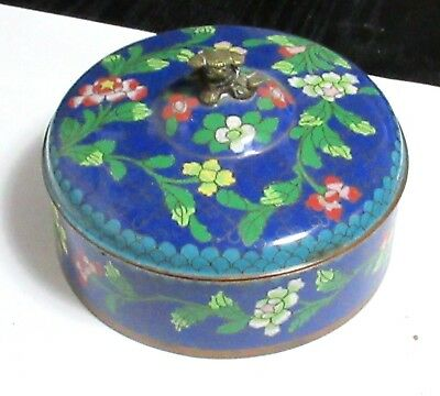 Chinese Metal Cloisonne Blue Enamel Foo Dog Humidor Box