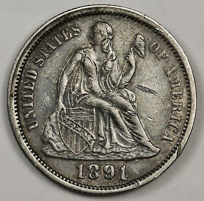 1891 Seated Liberty Dime.  Natural X.F.  122839
