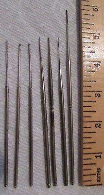 Lot of 7 antique steel tatting hook  (2) are Marked with SUN SIZE 0 and 1