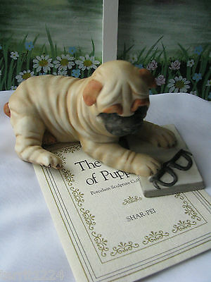 FRANKLIN MINT-The World of Puppies 1987 Porcelain  SHAR-PEI  w Certificate