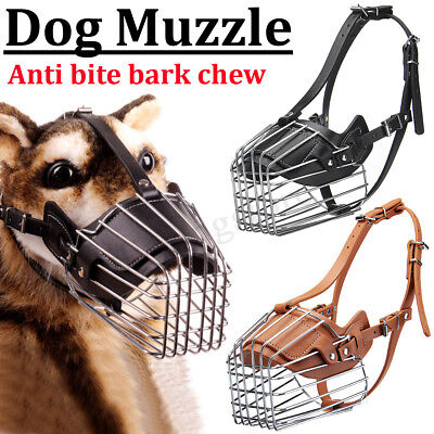 Adjustable Dog Muzzle Metal Wire Basket Padded Anti Bite Chew Control Pit Bull