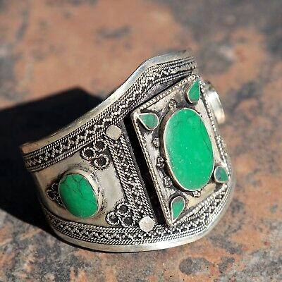BRACELET (1pc) Turkman Tribal Dance ATS Real MALACHITE Belly dance 502f7