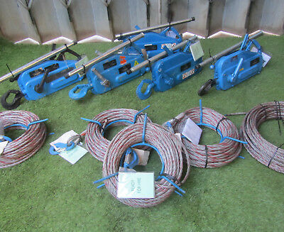 TU16 Tirfor Winch C/W 50M Wire Rope Hoist Cable Winch REF 7128