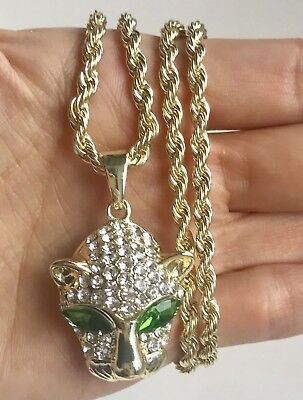 Leopard Tiger Head Chain Necklace Long Silver Diamond Bling Cat Animal Pendant