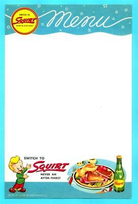 """Squirt Soda """"Loveable Squirt Boy"""" Menu Sheet #1 - 1940s era NOS (New Old Stock)"""