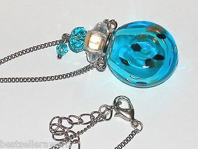 1pc Lg Murano Glass Aqua Blue oil perfume bottle cork pendant vial Necklace New