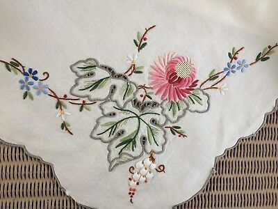 Pretty Vintage Embroidered Linen Tablecloth