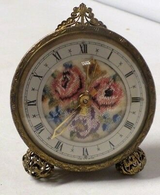 Vintage embroidery & brass coloured mantle clock (Hol)