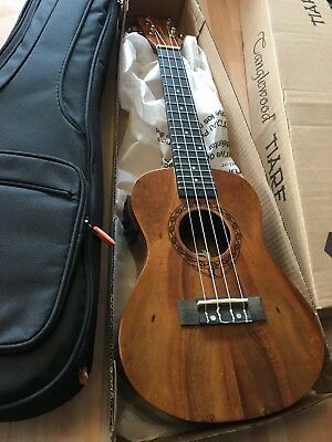 RRP £159 Concert Electro Acoustic Ukulele in Koa with Arched Back + gig bag