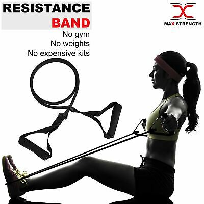 Resistance Band Single Tube Workout Heavy Duty Yoga Gym Exercise Crossfit Black