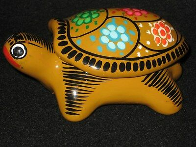 Jewelry/Trinket Box Hand Painted Turtle Mexican  Pottery Art UNIQUE Gift