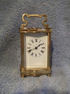 Vintage French brass carriage clock - Bevelled glass - WO