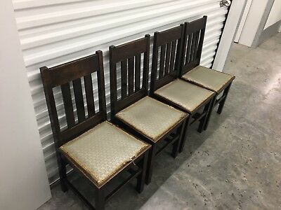 Set Of 4 Antique 1920's Mission Oak Style Chairs