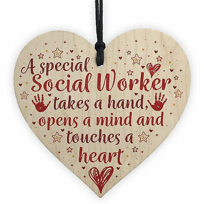 Social Worker Gift THANK YOU Wood Heart Birthday Christmas Colleague Friend Gift