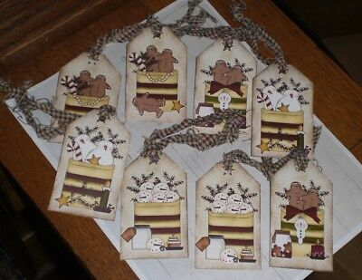 8 Primitive Christmas Whimsical Snowman Gingers Hang Tags Gift Ties Tree Ornies