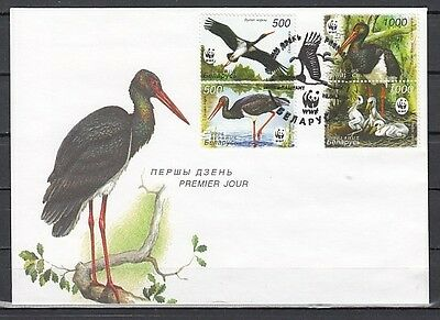 Belarus, Scott cat. 559-560, 561. W.W.F. showing Cranes on a First day Cover.