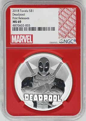 2018 Deadpool 1 Oz 9999 Silver Coin NGC MS69 Redcore Tuvalu First Release JB325