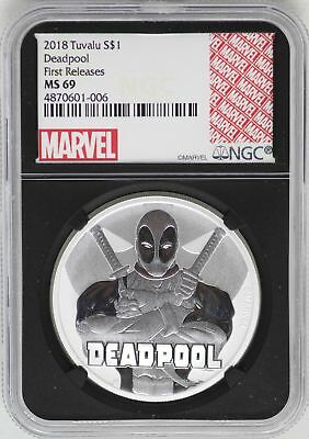 2018 Deadpool 999 Silver Coin 1 oz NGC MS69 Blackcore Tuvalu First Release JB326