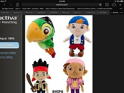 4 Lot Plush Disney Store JAKE & THE NEVER LAND PIRATES Skully Izzy Cubby 6 - 14""