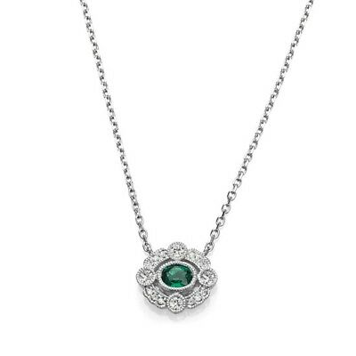 NEW 14k WHITE GOLD DIAMOND & OVAL EMERALD VINTAGE STYLE PENDANT NECKLACE