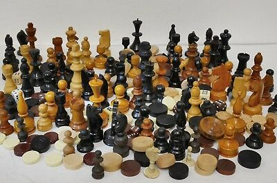 Large Job Lot of Vintage Mostly Wooden Spare Chess & Gaming Pieces - Over 200!