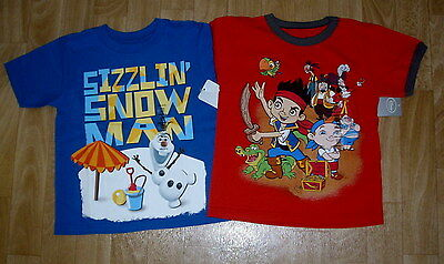 Disney Store Frozen Olaf Snowman Jake The Pirate Shirts Lot Size Xxs 2-3 New