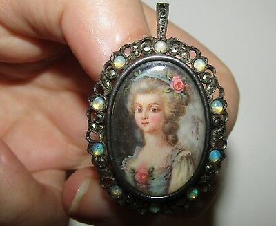 An Antique,french, 800 Silver Signed Portrait Miniature / Opals/marcasite Brooch