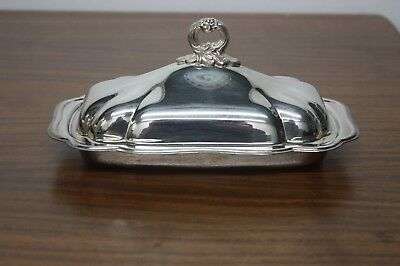 Antique FB Rogers Silver Co 1883 Butter Dish USA Crown Logo Sticker - Free Ship