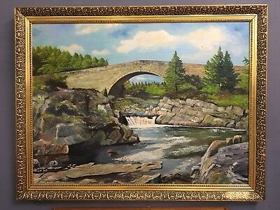 Very Large Oil On Board Painting In Gold Gilt Frame, Signed Wilding