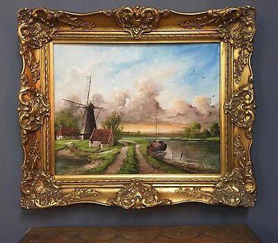 Very Large Oil On Board Painting In Gold Gilt Frame, Signed