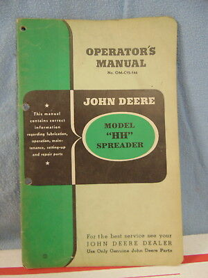 Vintage John Deere Model Hh Spreader Operator Manual