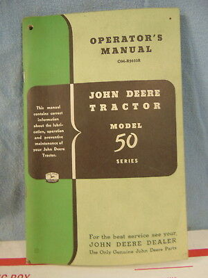 Vintage John Deere Tractor Model 50 Series Operator Manual Original