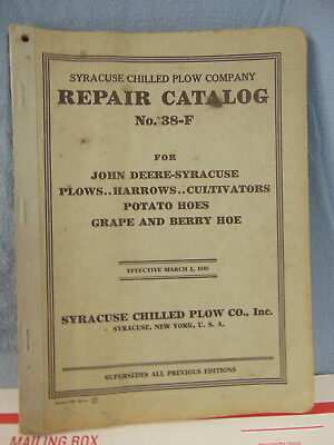 John Deere Plows Harrows Potato Grape Berry Hoes 38-F Repair Catalog Orig