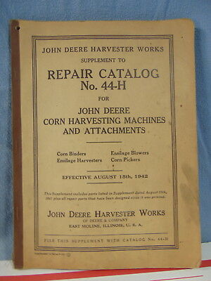 John Deere Corn Harvesting Machines Attachments 44-H Catalog Orig