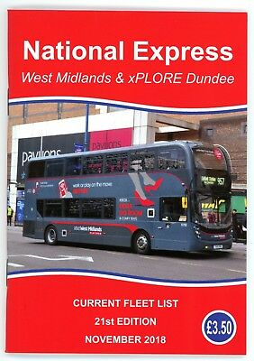 National Express West Midlands, Coventry and xPLORE Dundee, fleet list Nov 2018