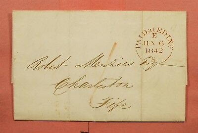 1842 Scotland Gb Stampless F/l Edinburgh To Dunfermline