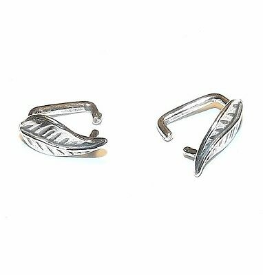 M664 Leaf .925 Sterling Silver 9mm Ice-Pick Pinch Bail Connector 2pc
