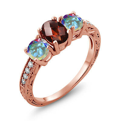 1.12 Ct Garnet Mercury Mist Mystic Topaz 18K Rose Gold Plated Silver Ring